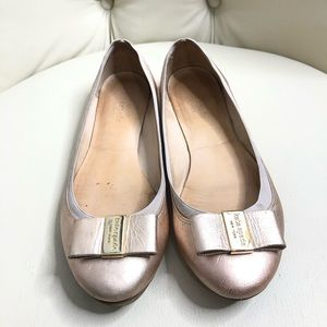 Kate Spade Light Pink Leather Bow Toe Flat Shoes